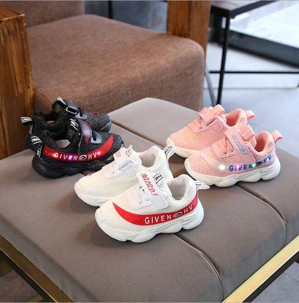 2019 NOVA Moda Infantil Luminosa Sapatos Estrelas Imprimir Meninas Sapatos Baixos Luminosa Não-deslizamento Resistente Ao Desgaste Sapatos para Crianças de Melhor qualidade hf06
