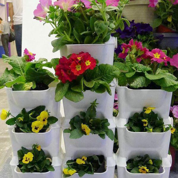 Creative Vertical Greening Combination Wall Flower Pots Plastic Plant Pot Outdoor Indoor Planter Home Garden Decoration