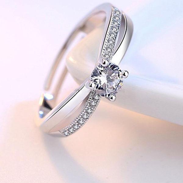 Anello a forma di croce con zirconi in cristallo aperto con anelli regolabili per le donne