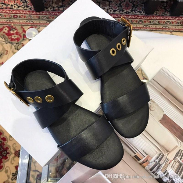 New women's shoes in early spring Imported Italian leather fabric Metal element ring buckle comfort Flat sandals for women
