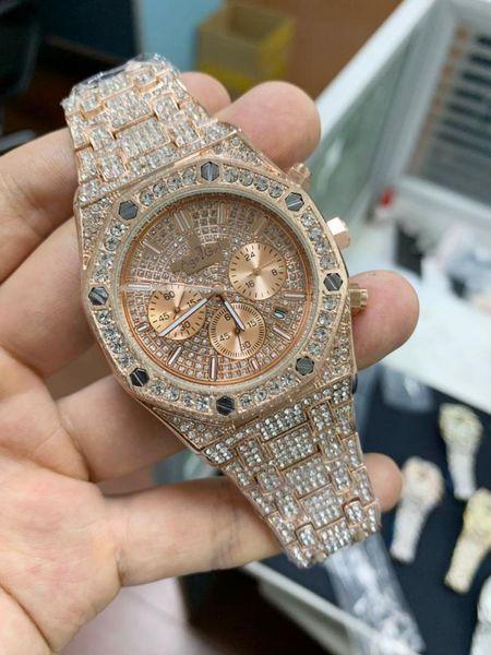 Yeni Erkekler Saatler Chronograph Safir Paslanmaz Çelik Sarı Altın Gül Gümüş Siyah Tam Buzlu Diamonds Moda Izle