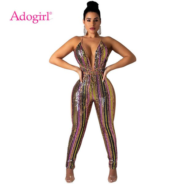 Adogirl Colorful Stripe Sequins Bandage Jumpsuit Sexy Deep V Neck Spaghetti Straps Night Club Party Outfits Women Romper Overall Q190513