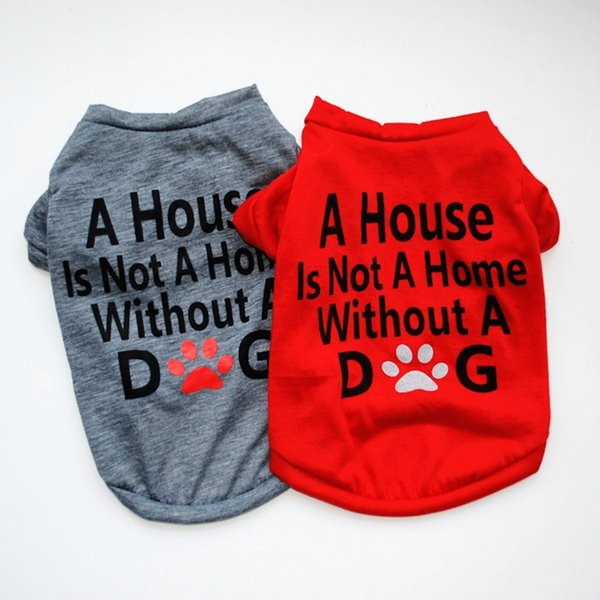 Small Dog Clothes Letter Printed Puppy T Shirts Summer Dog Shirts Classic Pet Outfits Dog Apparel Supplies 2 Colors YW2524