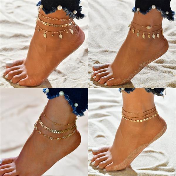 Modyle pulsera de tobillo Cuentas de Bohemia de las mujeres de piernas cadena alrededor de la borla de la pulsera para el tobillo del pie de la vendimia joyería y accesorios