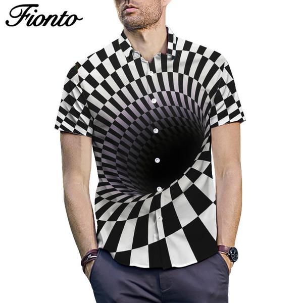 Summer New Shirt Youth Loose Short Sleeve Whirlpool Printed Shirt Large Men's Jacket Summer Loose Type Men's Shirts ZF9684