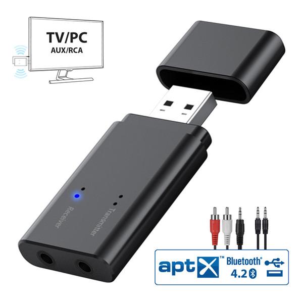 Bluetooth 4.2 Verici ve Alıcı, 2 in 1 USB Kablosuz Ses Adaptörü 3.5mm Aux Portu ile TV, PC, Araba, Kulaklıklar, Ev Ses Sistemi