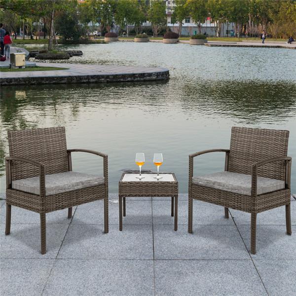 Acheter SONYI Mobilier De Patio Moderne En Plein Air En Osier Jardin Bistro  Ensemble Rotin Chaise Conversation Ensembles Avec 2 Chaises Rembourrées ...