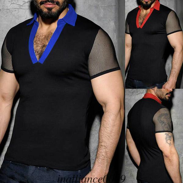 Новый стиль мужские футболки Топы личности Slim Fit с коротким рукавом повседневная лоскутная летняя V-образным вырезом видеть сквозь моде горячий 2019