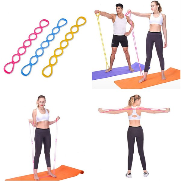 7 Holes Silicone Yoga Resistance Band Fitness Pull Rope Body Training Tools Gym Fitness Equipment #2P09