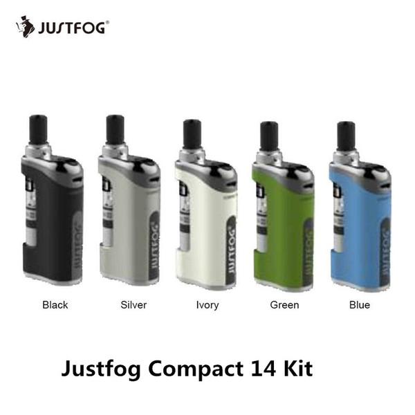 Justfog COMPACT 14 Starter Kit Встроенный 1500 мАч 1.8 мл Распылитель Q14 Совместим с 1.2ohm 1.6ohm Катушки Vaping Device 100% Аутентичные