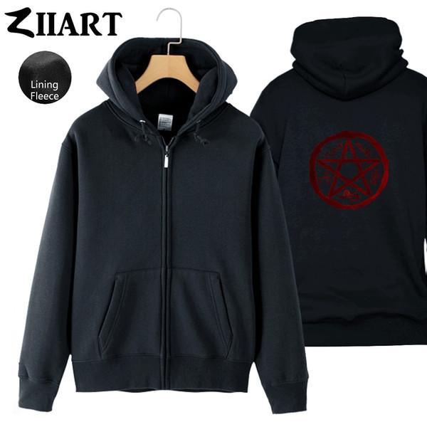 Supernatural Demon Symbols Devil's Trap Symbol Couple Clothes Man Boys Full Zip Autumn Winter Fleece Hooded Coat Jackets ZIIART