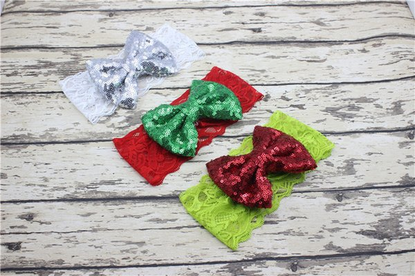 Lace Sequin Bow Hairband Kids Headband For Baby Boys Girls Boutique Headwear Hair Accessories Photo Props
