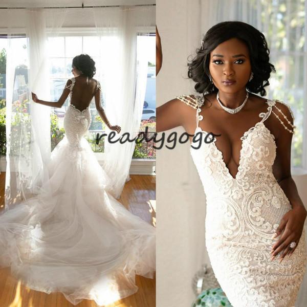 Stunning Illusion Back Lace Mermaid Wedding Dresses O Neck Beading Pearls Wedding Wears Tulle Long Train Castle Bridal Dress