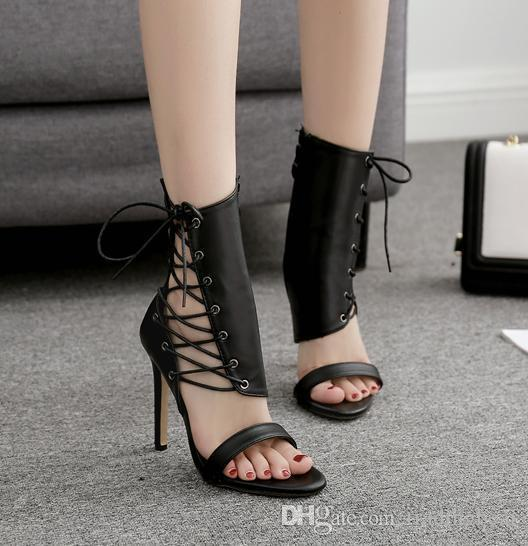 Sexy2019 Lace Up On Side Peep Toe Pumps Designer Women High Heel Shoes Ankle Bootie