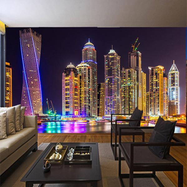 Antecedentes Documentos encargo de la pared del papel pintado 3D Foto de Dubai de visión nocturna Construcción de la Ciudad de pared Decoración de la sala Pintura Mural
