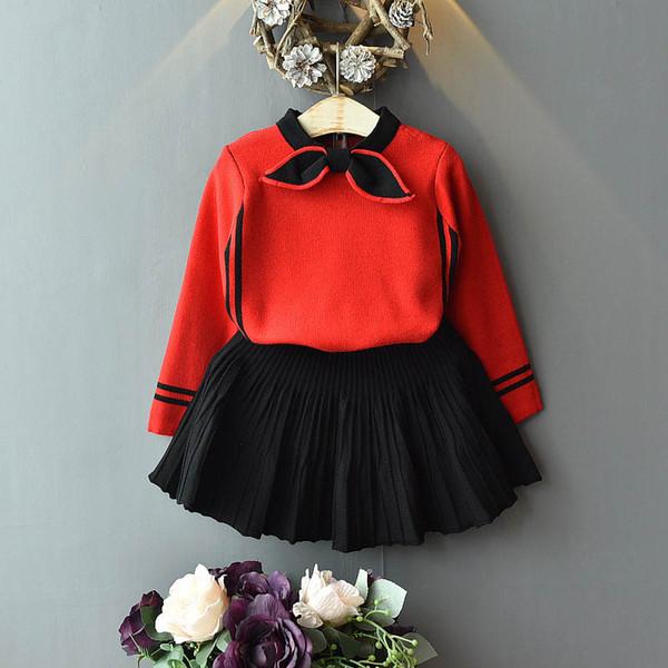 Meninas ternos Outono Inverno 2019 crianças roupas camisola + Saias Plissadas 2 pcs crianças roupas de grife meninas vestido ternos A7212