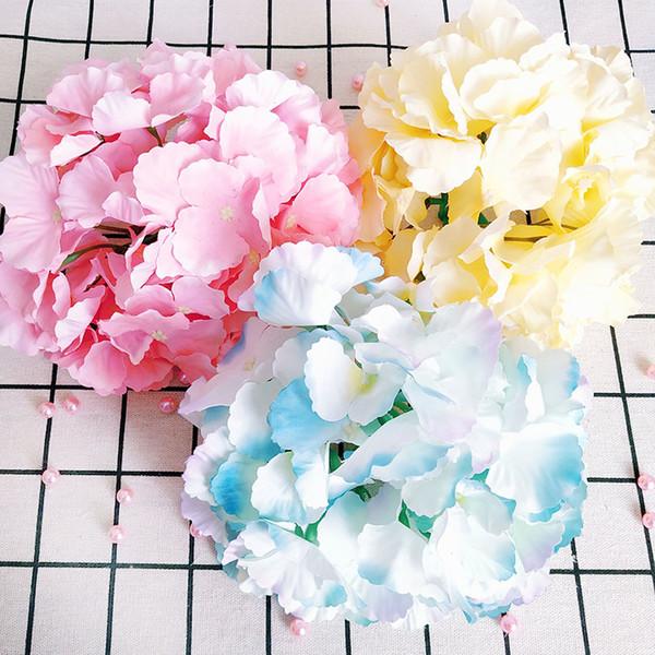 Büyük Yapay Ortanca Çiçek Başkanı Ana Ayıklaması Parti DIY Düğün Çiçek Duvar Backdrop Yol Dekoratif Çelenkler Kurşun