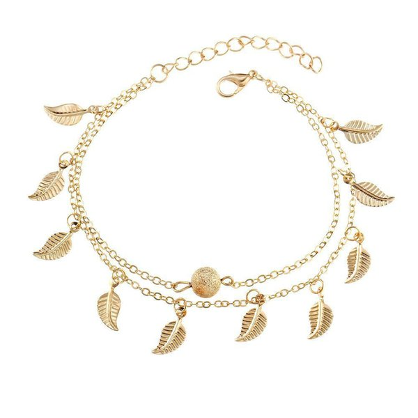 Double Layer Tassel Leaf Anklets Bracelets Silver Gold Beach Foot Chain Fashion Jewelry for Women Valentine gift
