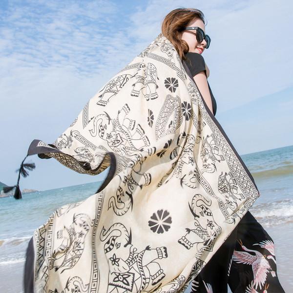 Весной и летом новый принт случайный сладкий большой солнцезащитный крем солнцезащитный шарф платок двойного назначения длинный шарф морской пляж дышащий шарф