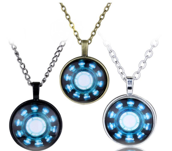 Tiempo Collares de piedras preciosas Collar de Iron Man Serie de películas de moda Avengers Iron Man Arc Gem Glass Tiempo Capitán América Charm Necklace
