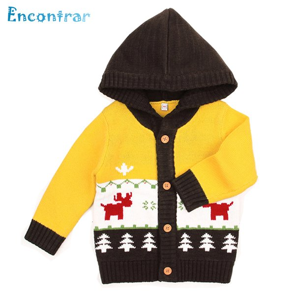 Encontrar Baby Girls Casual Christmas Hooded Knitted Cardigan Sweater Boy Autumn Clothing Spring Kid Knitwear Coat 6M-24M,DC351