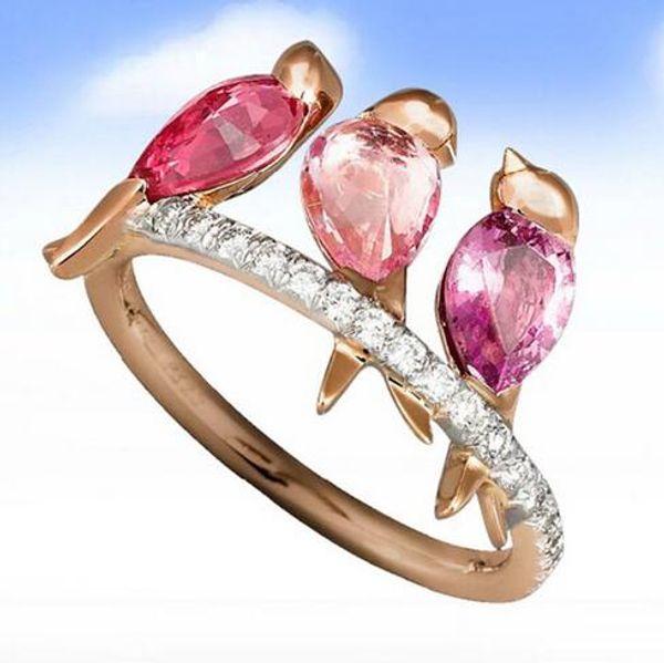 Nueva Forma Creativa animales Tres pájaros Anillo para niñas únicos anillos joyería linda de oro rosa de color rojo mujeres de los anillos con incrustaciones de circón
