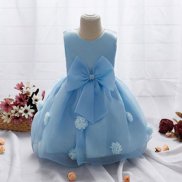 Summer Girls Wedding Dress Applique Sleeveless Kids Clothes Baby Princess dresses for 1-3Y Girl Childrens roupas infantis menina
