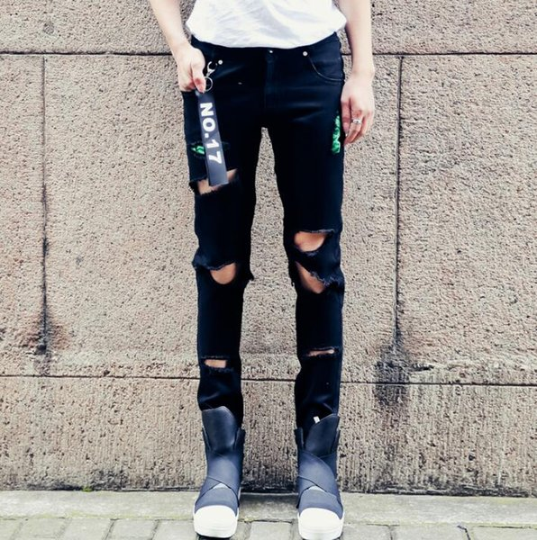 Broken hole hollow pencil jeans Men's Harajuku style ins net red with the same paragraph Slim feet ankle pants summer