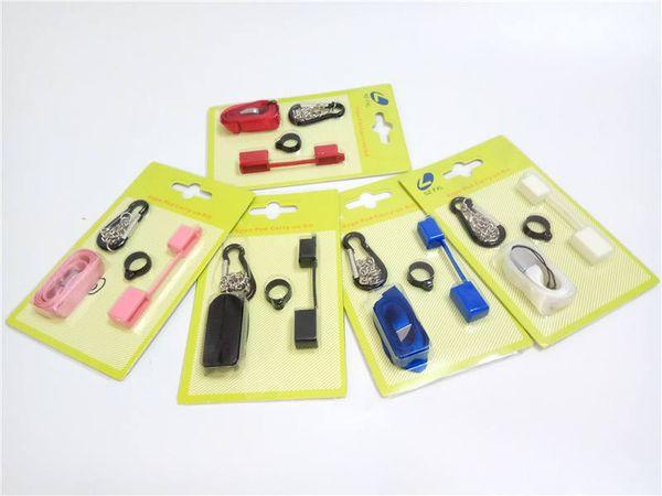 Vape Pod Carry On Kit com Dustproof Silicone Cap Cordão Colar Tampa Do Anel Wraps Para Ecig COCO J SMPO MT Flat Pen