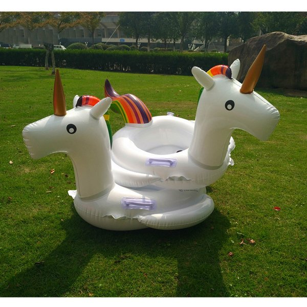 Inflatable Unicorn Floating 120cm Inflatable Floats Ride-On Pool Toys for Kids Adults Giant Unicorn Swimming Float Ring Water Raft