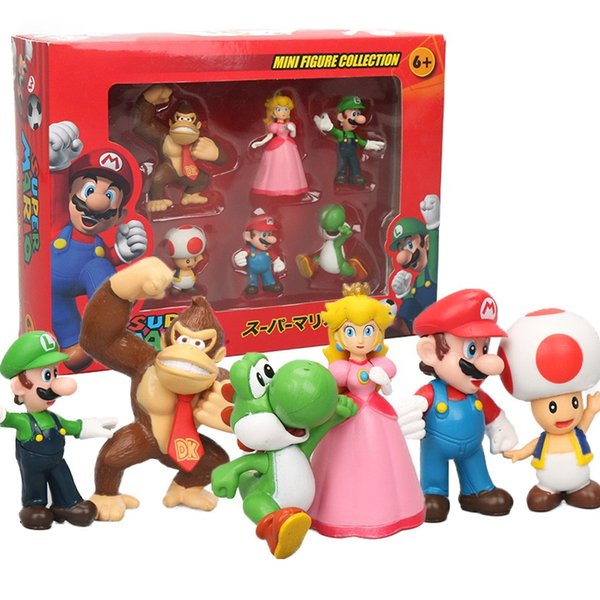 Pack of 6 Donkey Kong Peach Toad Mario Luigi Yoshi PVC Action Figures Super Mario Bros Figure Set Dolls Toys Figuren brinqudoes