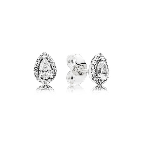 best selling CZ Diamond Stud Earrings for Women Luxury Jewelry with box for Pandora 925 Sterling Silver Tear drop Wedding Earring Set
