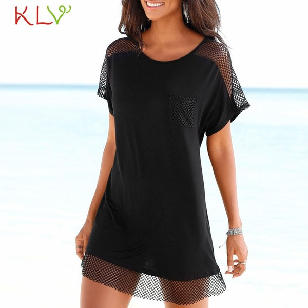 Black Dress Women Sexy Mesh Boho Mini Dress Vintage Elegant Ladies For Evening Party Robe Femme Hiver Plus Size 2019 18Jan15