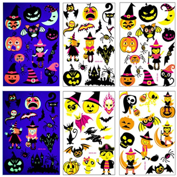 New style Halloween Fluorescent Temporary Tattoo Sticker children Cartoon Tattoo Sticker Ghost Festival party Decorative Sticker T9I00139