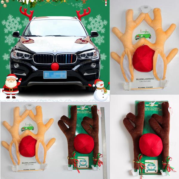 Christams Antlers della renna e Red Nose Kit Car set Natale divertimento renna cervi orecchie per tutti i veicoli auto della moda di New partito puntelli FFA3257