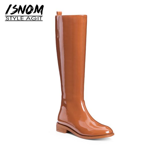 Acheter Genou Mode Chaussures Verni Talons Épaisse ISNOM En De Femme Haute Botte Femmes Zip Pluie Bout Botte Chaussures 2019 Cuir Rond Bottes nv0wm8N