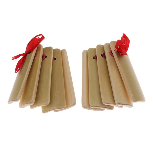 top popular 2 Pcs Small Hand Clapper Castanet Toy Hand Rhythm Percussion for Children 11.5x4.5cm 2021