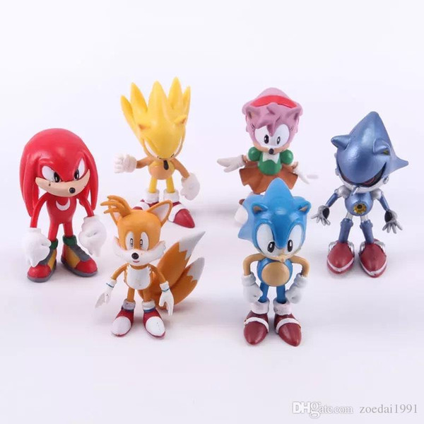 High Quality Sonic the Hedgehog Collection Action Movie Figures Model 2.5 inch 6cm Toy PVC toy Characters brinquedos Doll 6pcs/set