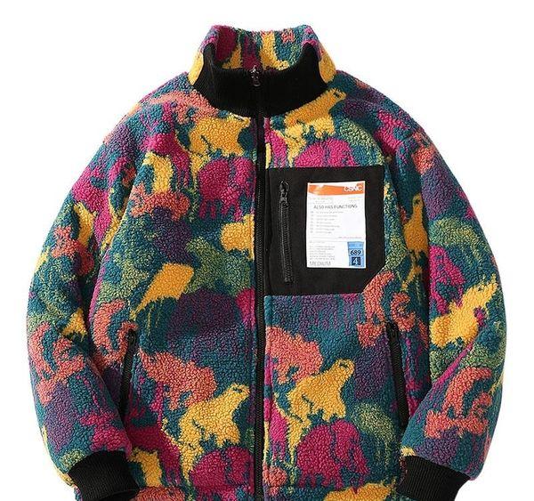 Hip Hop Реверсивный Куртка утепленная Красочные животных Краска Камуфляж Streetwear Мужчины Harajuku Ветровка Coat флис зима Zip