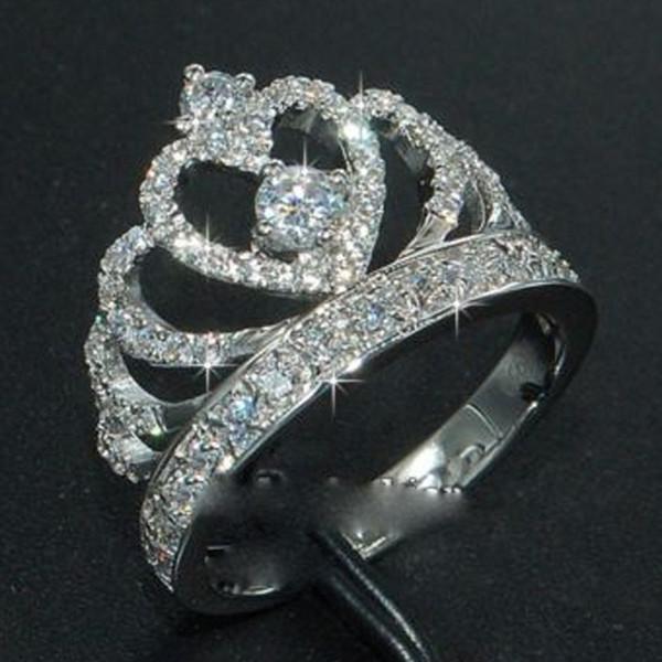 Everoyal Do Vintage Anéis de Coroa De Cristal Para As Mulheres Jóias Moda 925 Anéis De Prata Esterlina Acessórios Meninas Noiva Casamento Bijou