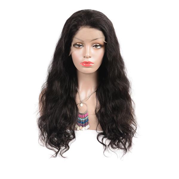 Pelucas delanteras de encaje de cabello humano Body Wave Natural Black 1B # 8-24 pulgadas 1 pieza 100% cabello humano real para mujeres pelucas