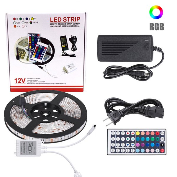 5050 SMD 5M 10M New RGB Impermeabile IP65 300 LED 600 LED strip flessibile a LED + 44 Key IR Remote Conroller