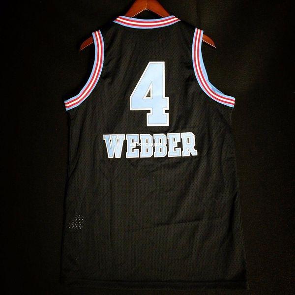 100% maglia cucita # 4 Chris Webber cucita maglia HWC jason williams nero gilet da uomo taglia XS-6XL maglie da basket cucite Ncaa