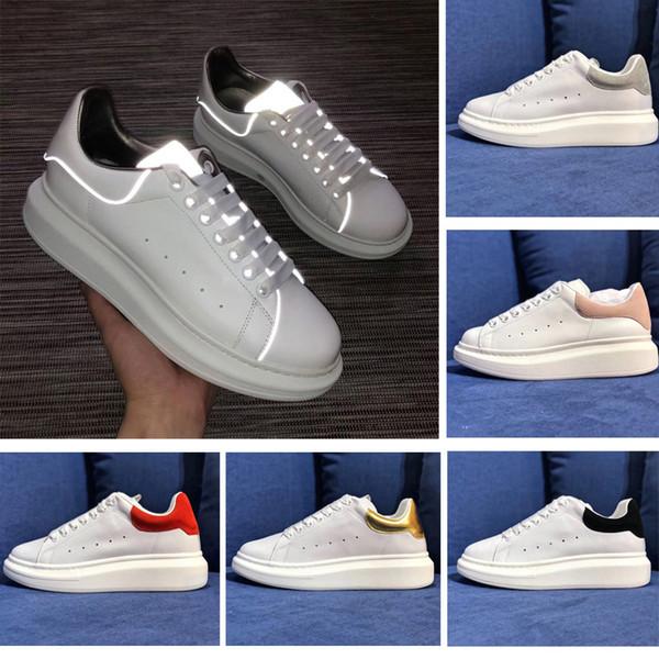 alexander mcqueens Diseñador de moda de moda reflectante de cuero blanco zapatos casuales niñas para mujer para hombre negro oro rojo cómodo de lujo zapatos planos tamaño 36-44