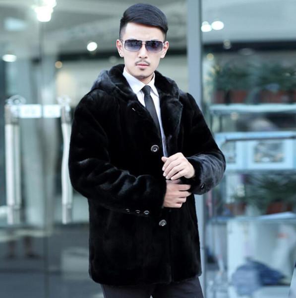 Automne veste en cuir de vison mens mens manteaux hiver épaissir chaud manteau de fourrure en cuir hommes vestes lâches Hooded noir