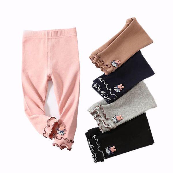 Kids Girl Leggings Baby Tight Trousers Elastic Pants Easter Day Leggings Cartoon Rabbit Solid Elastic Waist 6