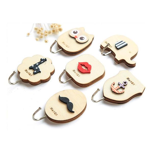 Key Decorative Hooks 1PCS Cute Cartoon Wood Decorative Holder Wall Hooks For Kitchen Organizer Bathroom Accessories Key Hanger @