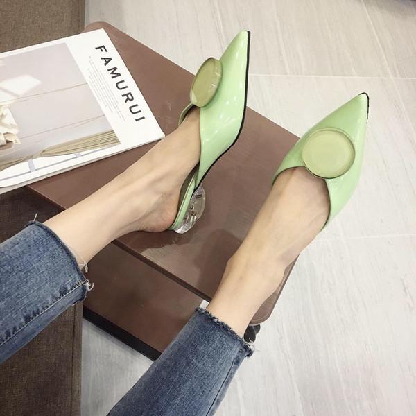 Fascinante2019 Zapatilla Sharp Otoño Con Crystal Button Coupler Zapatos de mujer