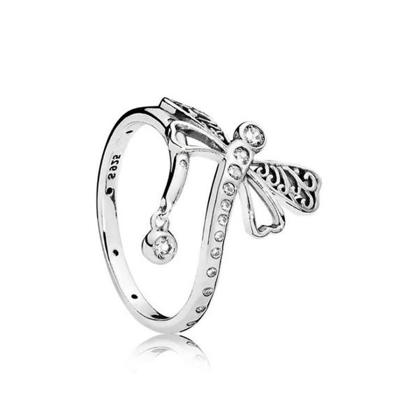 Hermosa caja de cristal Dragonfly RING Original set para Pandora 925 plata esterlina CZ Diamond RING accesorios de moda