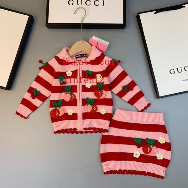 Kids Clothes cardigan coat skirt Sets Girl Fashion Outfits autumn Hip skirt kids jackets Tops+sweaters Stripe Skirts toddler girl clothes